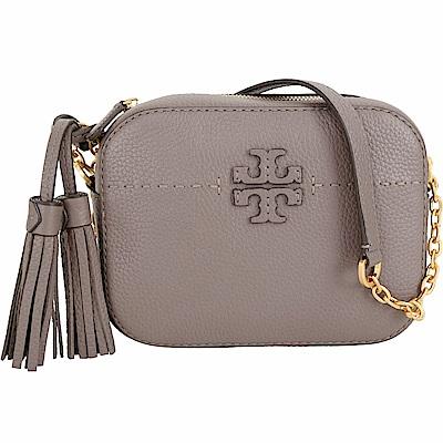 TORY BURCH McGraw 縫線設計流蘇牛皮鍊帶相機包(灰棕色)