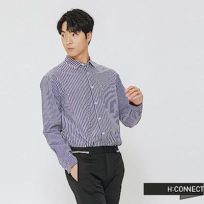 H:CONNECT 韓國品牌 男裝-直條紋拼接長袖襯衫-藍