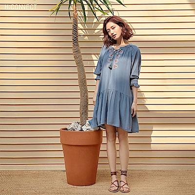 H:CONNECT 韓國品牌 女裝-民族風刺繡綁結洋裝-綠
