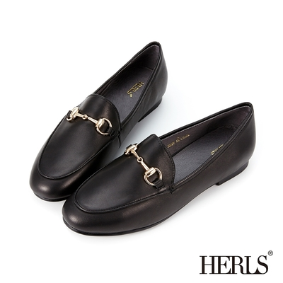 HERLS樂福鞋 全真皮馬銜釦橢圓頭平底樂福鞋 黑色