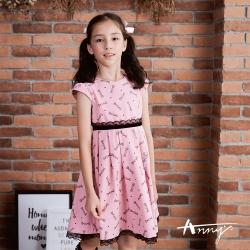 Annys安妮公主可愛風格糖果蕾絲短袖綁帶洋裝9228粉紅