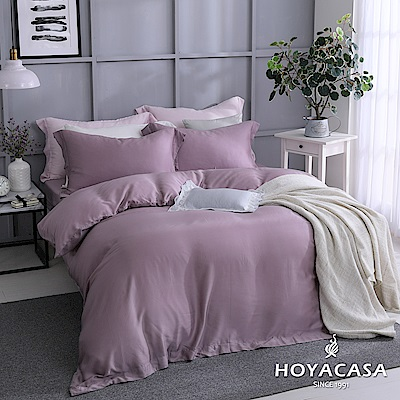 HOYACASA自由簡約 加大四件式60支天絲被套床包組-千黛紫