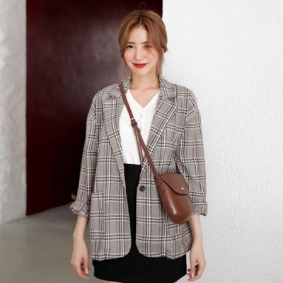 La Belleza復古格紋翻領單釦格子雙口袋薄款西裝外套