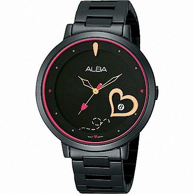 ALBA雅柏 浪漫滿屋 時尚愛心設計女錶(AG8383X1)-黑/38mm