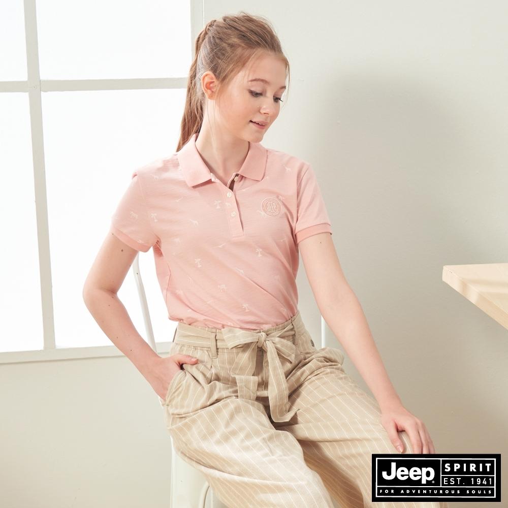 JEEP 女裝 動物圖騰短袖POLO衫-粉色