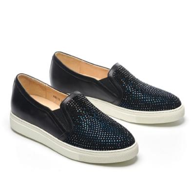 休閒鞋 AS 經典異材質拼接漸層排鑽厚底休閒鞋-藍