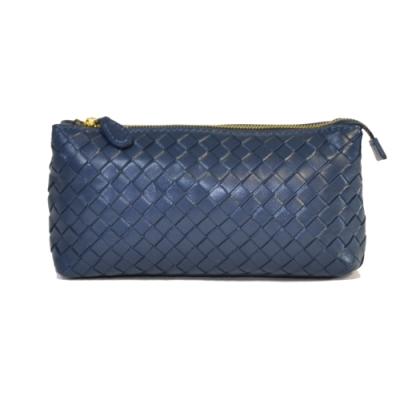 Miyo進口羊皮手工編織手拿包(深藍)