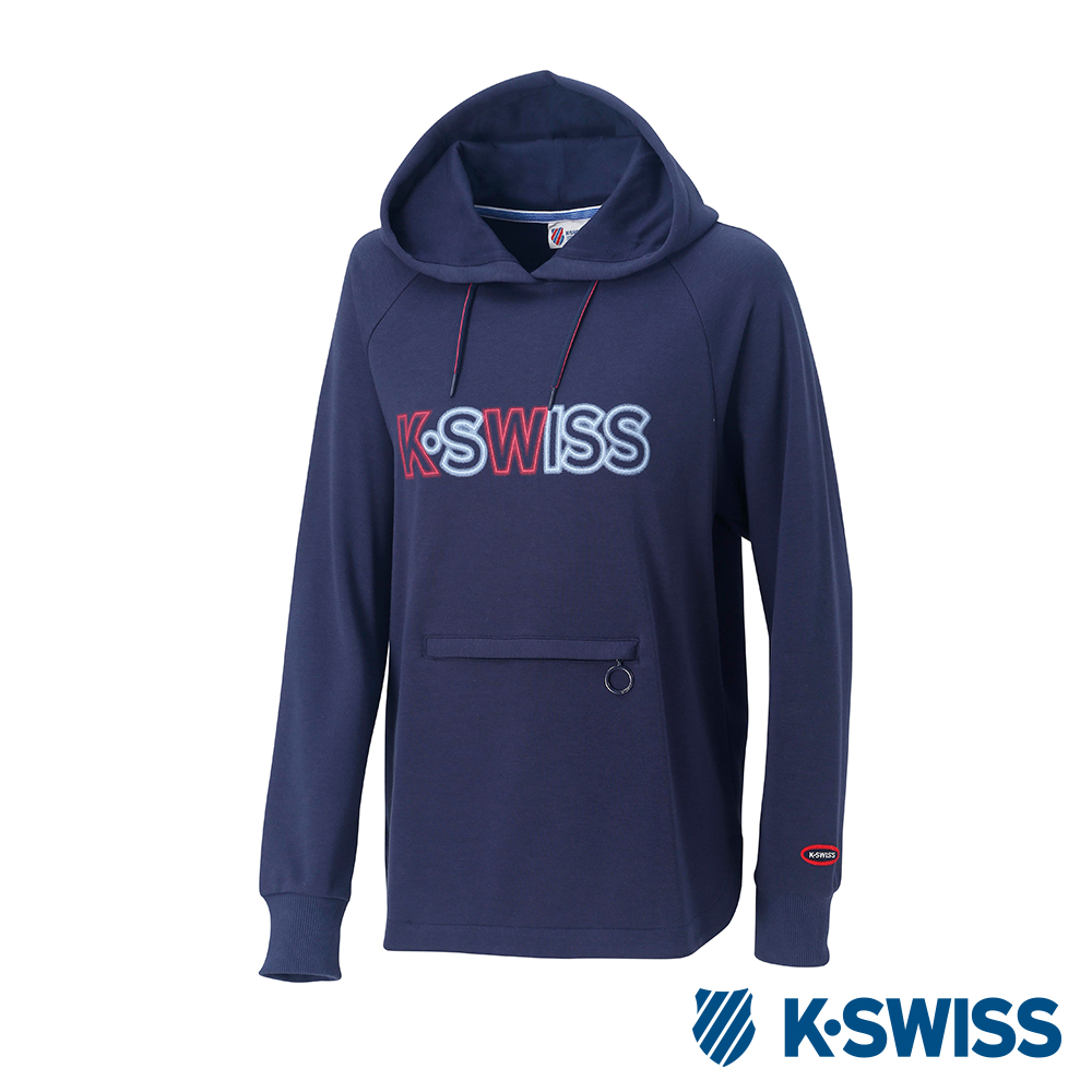 K-SWISS Long Hooded Sweat Shirts長版連帽上衣-女-藍