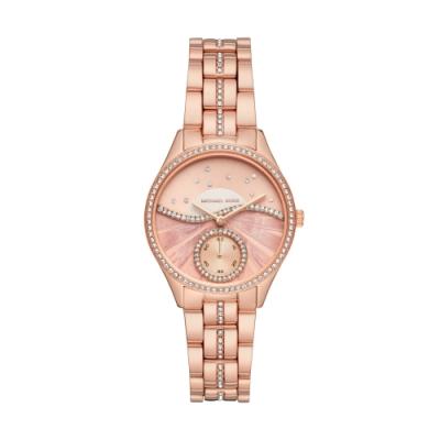 MICHAEL KORS 璀鑽奇緣設計小秒針手錶(MK4436)-玫瑰金/33mm