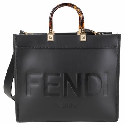 FENDI Sunshine 中型 字母烙印小牛皮玳瑁提柄兩用托特包(黑色)