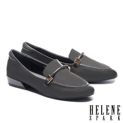 低跟鞋 HELENE SPARK 經典時尚鼓繩方釦樂福低跟鞋-灰