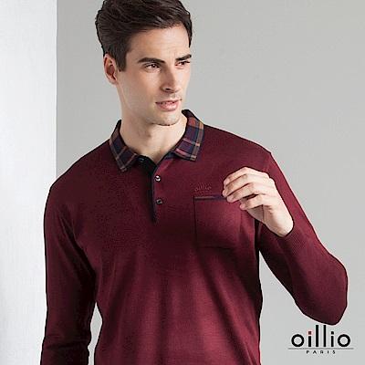 歐洲貴族 oillio 長袖線衫 格紋POLO領 素面休閒 紅色