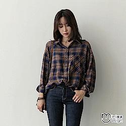 寬鬆垂肩格紋長袖襯衫 咖啡色-mini嚴選