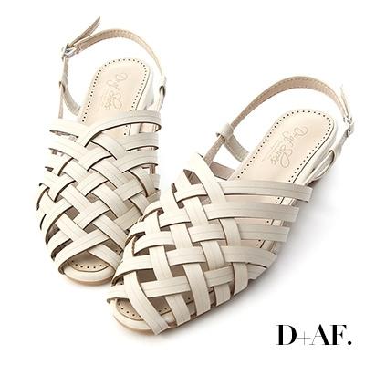 D+AF 古著韓風.多層次交叉低跟編織涼鞋*白