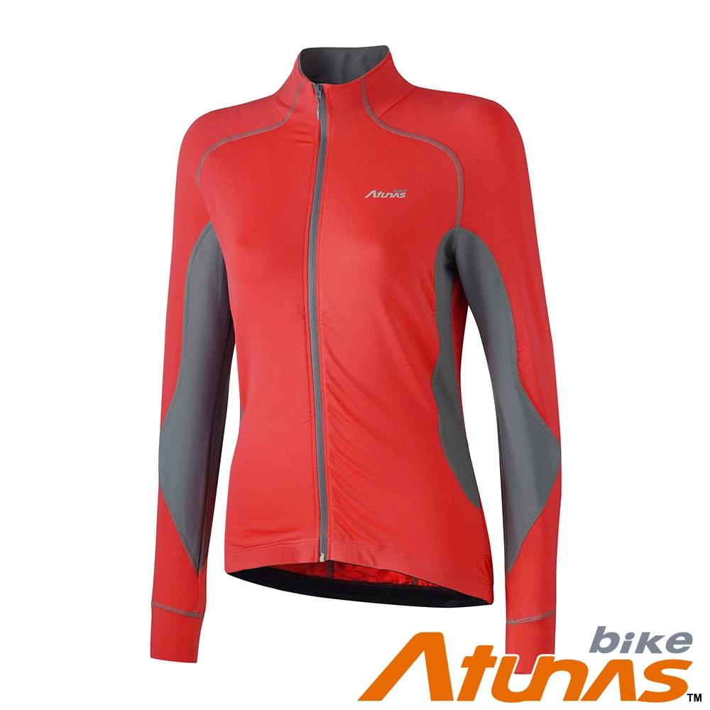 【Atunas 歐都納 Bike】女款防曬吸濕排汗風韻俐落長袖車衣B11034W紅深灰/外套式