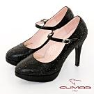 【CUMAR】優雅化身 水鑽復古法式瑪莉珍高跟鞋-黑色