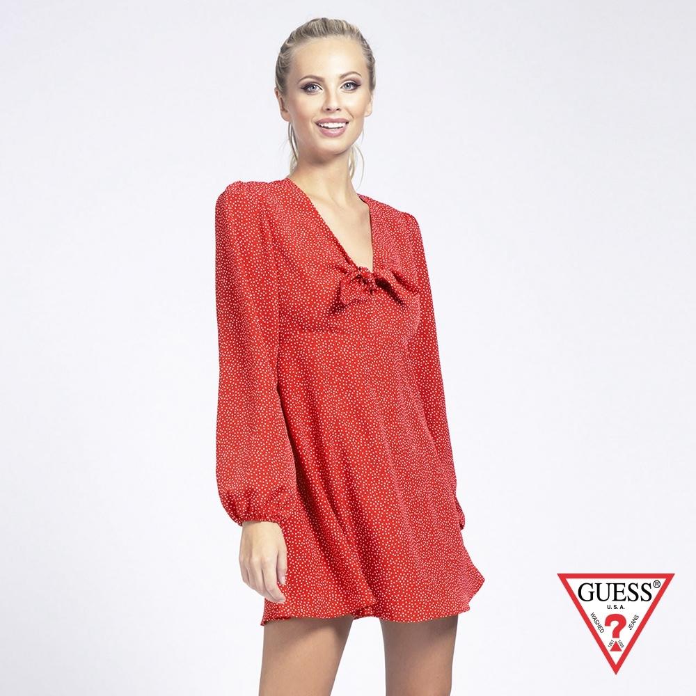 GUESS-女裝-點點V領綁帶收腰公主袖洋裝-紅 原價2490
