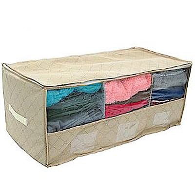 [超值2入]竹炭三格透明視窗衣物收納袋整理箱-60X38(80L2)