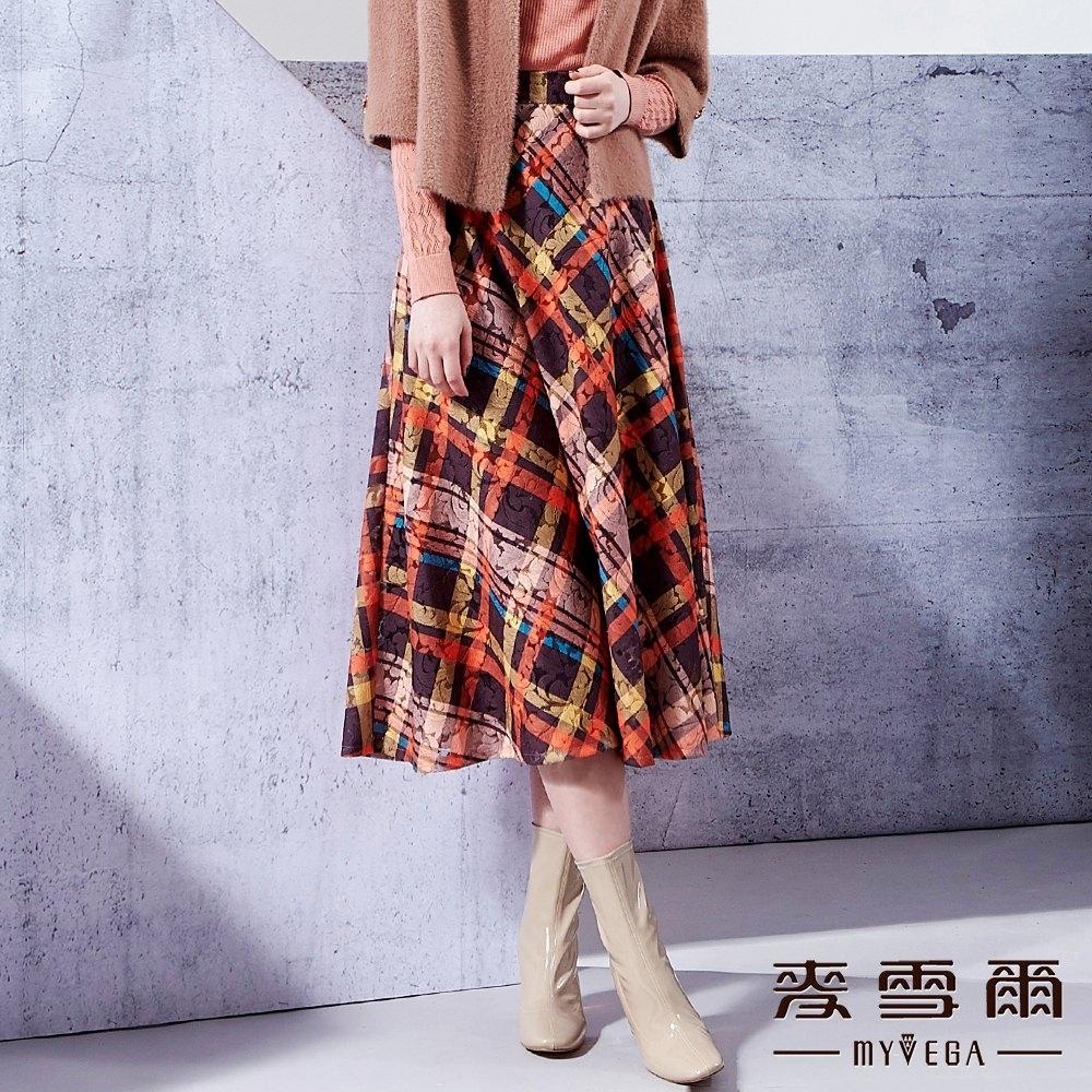 麥雪爾 菱形格鏤空刺繡八分裙-咖啡