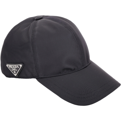 PRADA 經典三角牌尼龍棒球帽(黑色)