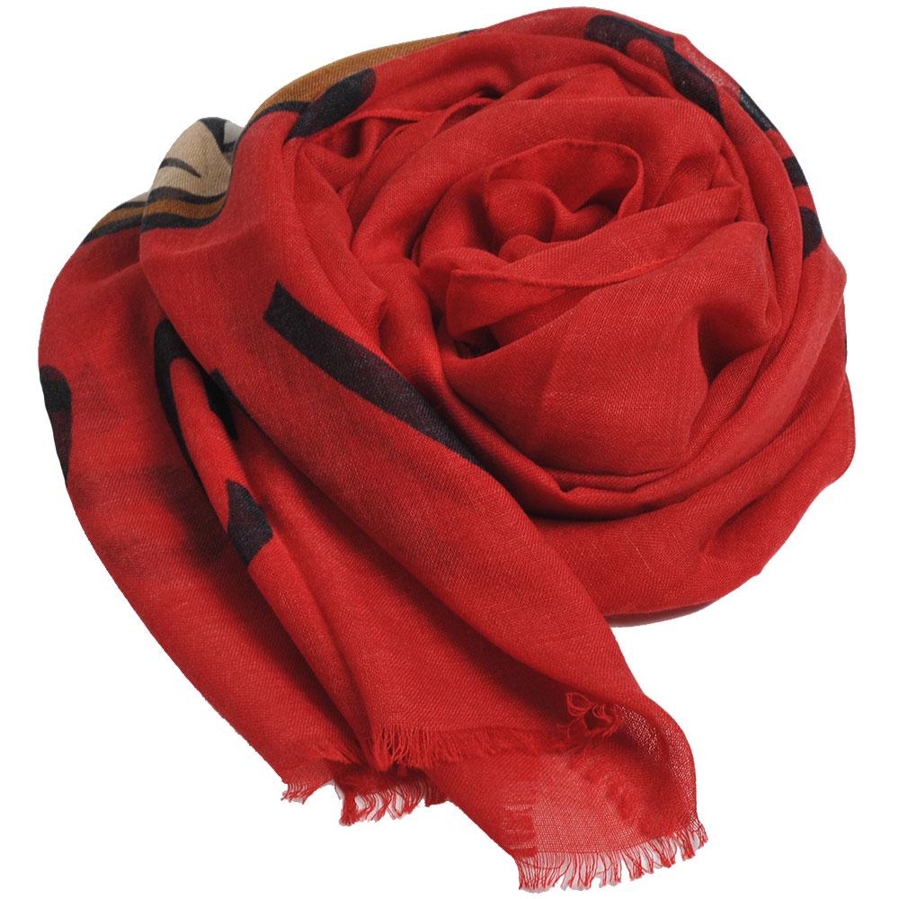 MOSCHINO品牌TOY小熊LOGO義大利製羊毛混蠶絲披肩/圍巾(紅)