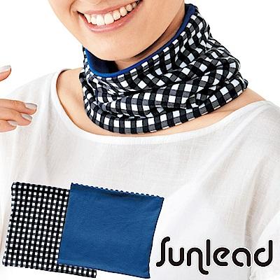 雙面雙色可戴。涼感降溫多機能頭巾/領巾 (海軍藍/格紋)