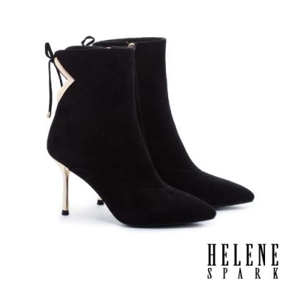 短靴 HELENE SPARK 摩登時尚剪裁金屬釦尖頭麂皮高跟短靴-黑
