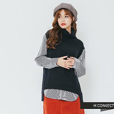 H:CONNECT 韓國品牌 女裝-拼接設計高領毛衣-藍