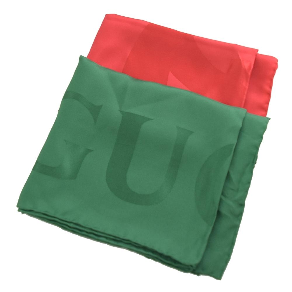 GUCCI 經典綠紅配色LOGO絲質方巾