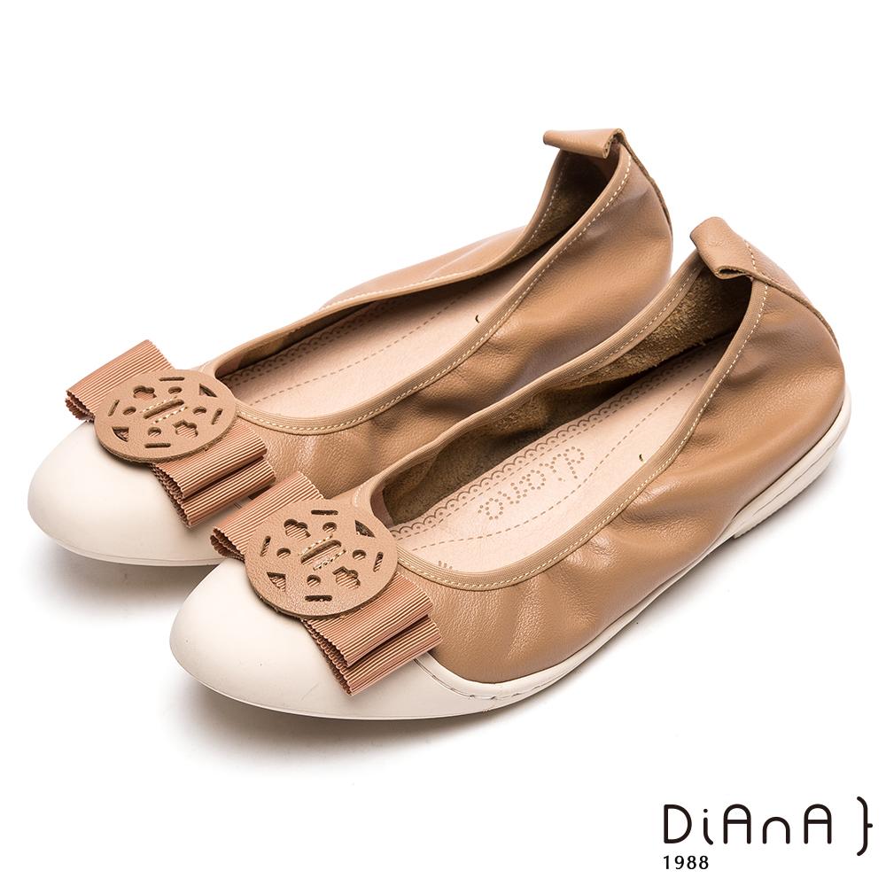 DIANA質感真皮圓釦娃娃鞋-漫步雲端厚切焦糖美人-淺棕