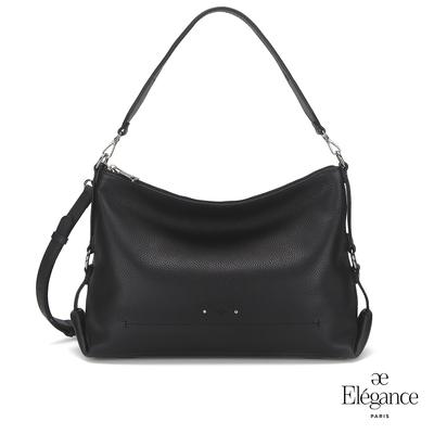 【Elegance】ADELA簡約牛皮側背包-黑色