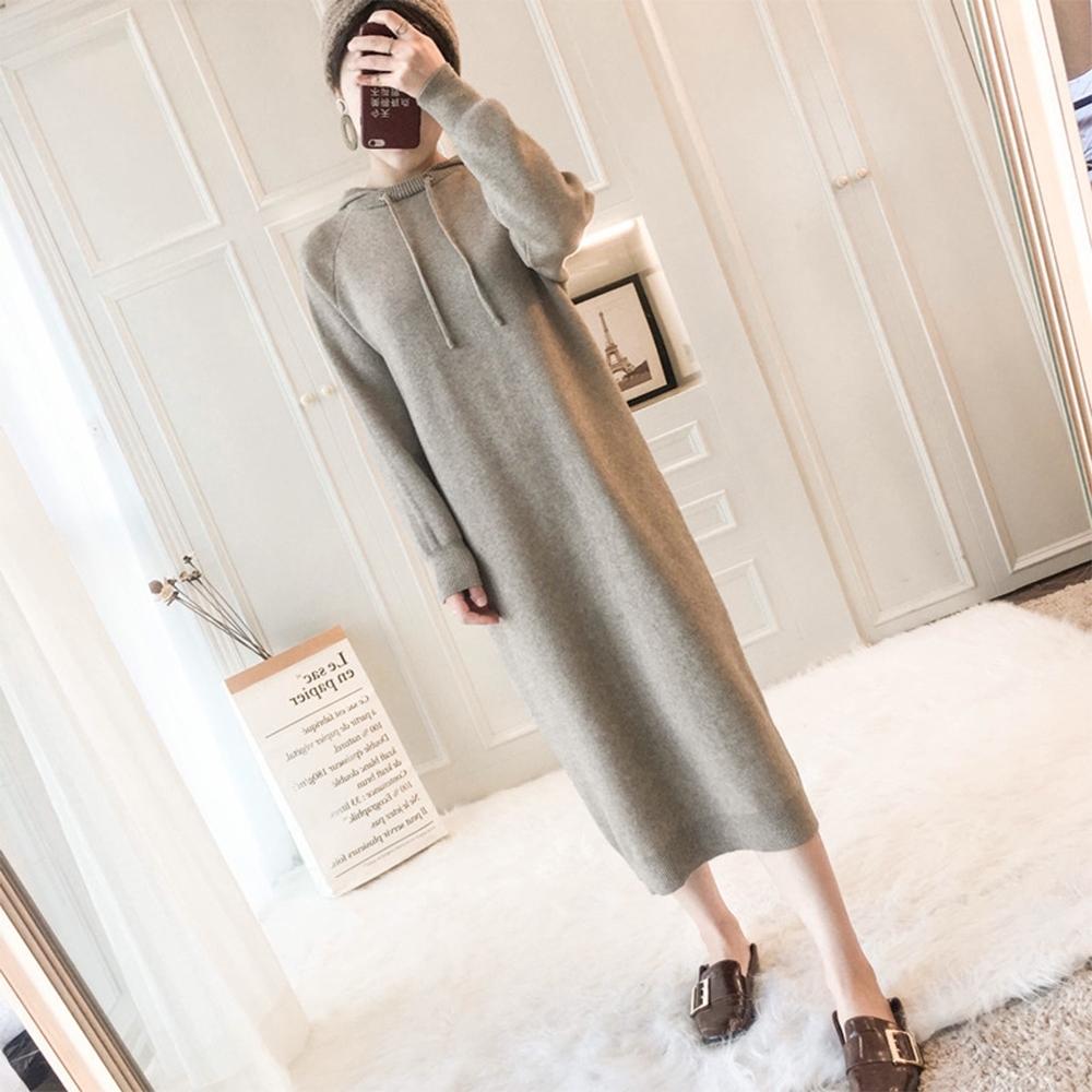 初色  連帽針織連身裙-共2色-(F可選)