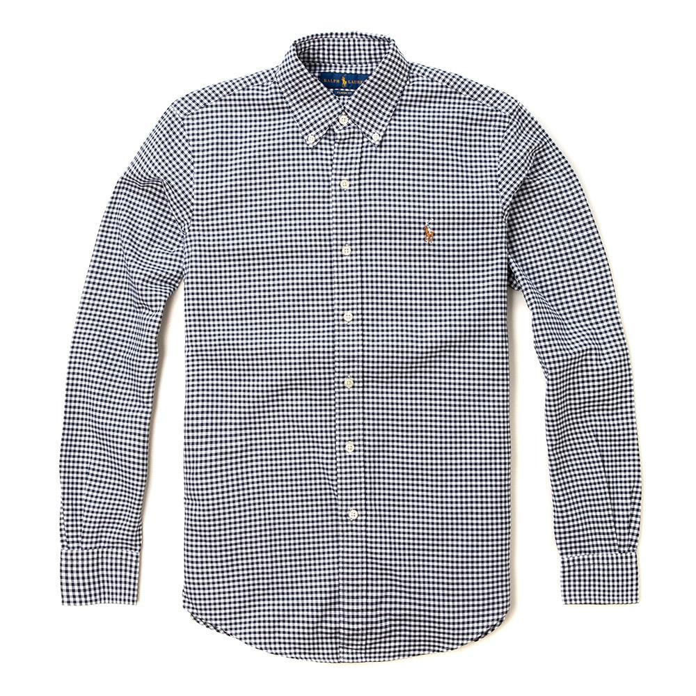 Polo Ralph Lauren 經典刺繡小馬長袖襯衫-黑白格紋色