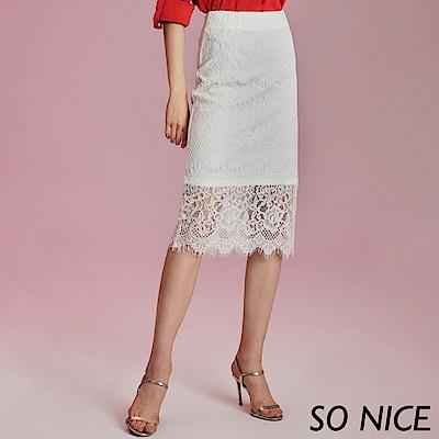 SO NICE優雅蕾絲過膝窄裙