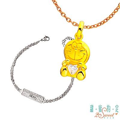 甜蜜約定 Doraemon 唯一哆啦A夢黃金墜子+神秘白鋼手鍊-白 @ Y!購物