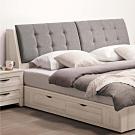 文創集 華倫現代5尺亞麻布雙人床頭箱(不含床底)-152x30x98.5cm免組