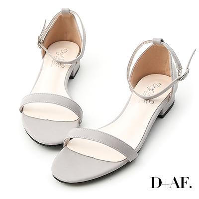 D+AF 簡約美學.一字繫踝低跟涼鞋*灰