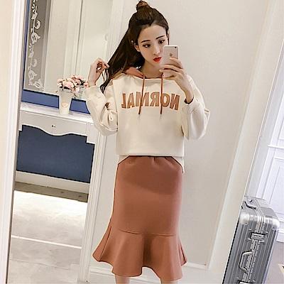 DABI 韓系連帽印花字母運動加絨包臀魚尾裙套裝長袖裙裝