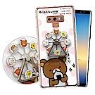 拉拉熊 Samsung Galaxy Note9 摩天輪指環支架空壓手機殼(飯糰)