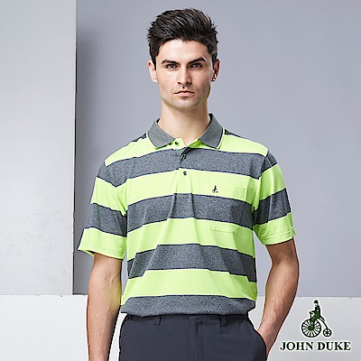 JOHN DUKE夏季彈力素色條紋POLO衫_灰/綠(20-9V6802)