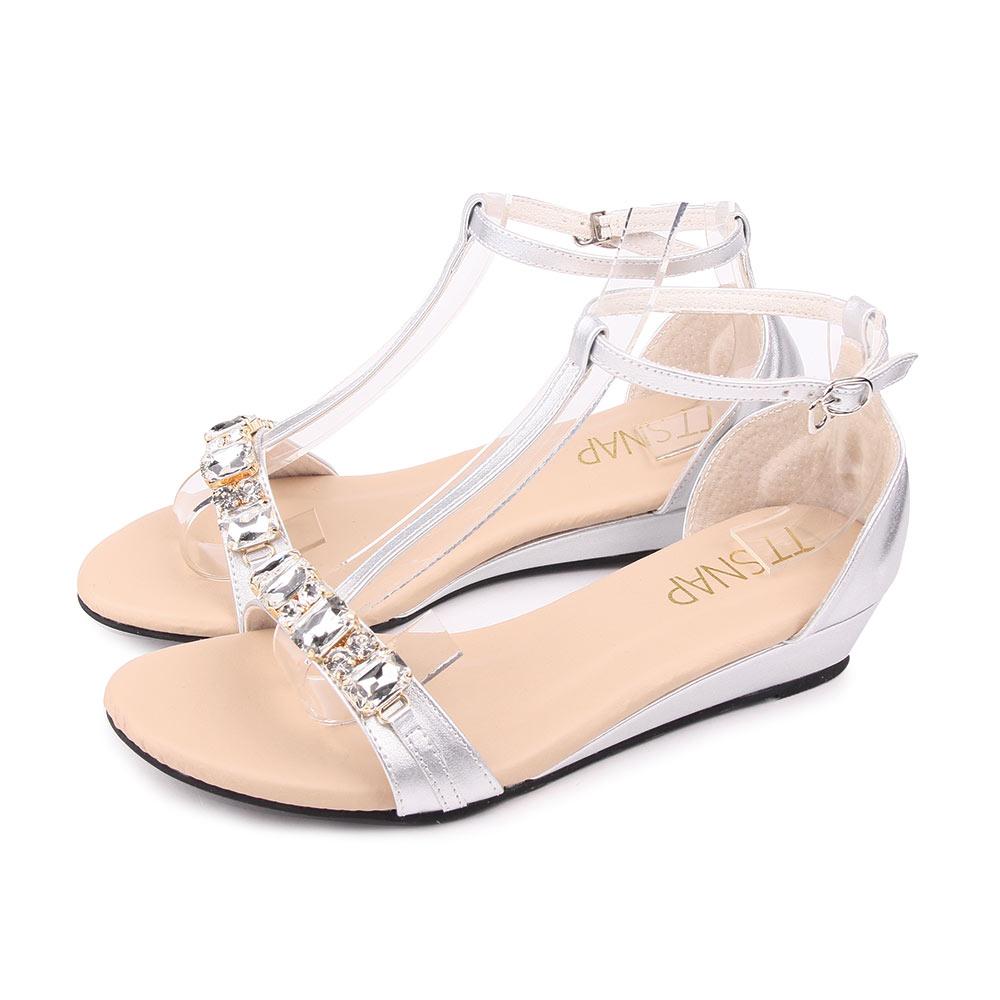 TTSNAP楔型涼鞋-Bling水鑽T字中跟涼鞋 銀