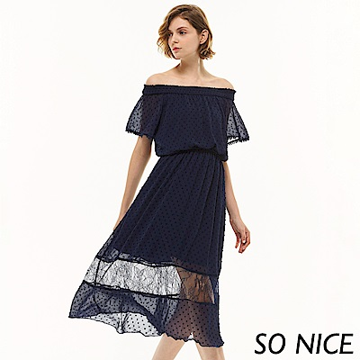 SO NICE俏麗圓點一字領蕾絲洋裝