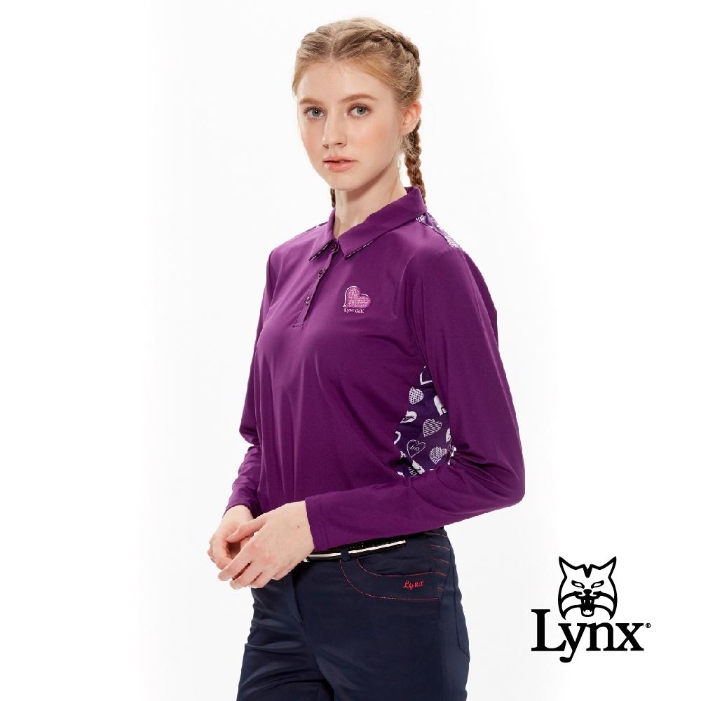 【Lynx Golf】女款吸濕排汗後背滿版愛心印花長袖POLO衫-深紫色