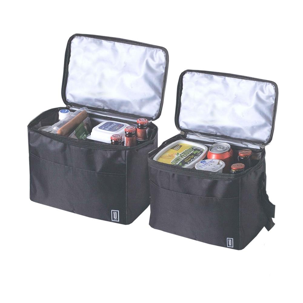 創意達人xUdlife 酷黑摺疊便利組保溫保冷袋-2入組