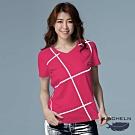 【LACHELN】抗UV彈力棉經典印刷女V領短T恤-L92WK01蜜桃紅