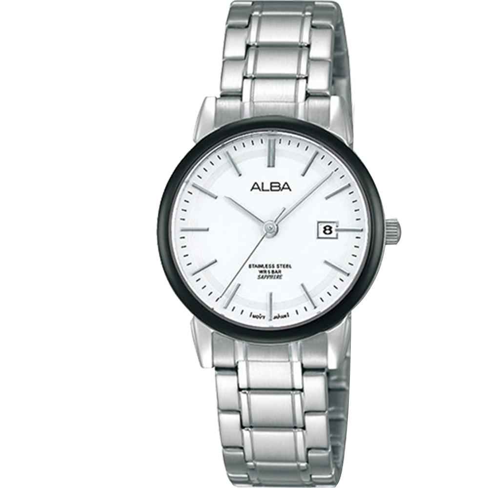 ALBA 日系時尚 輕巧日期女錶(AH7E69X1)-白/28mm