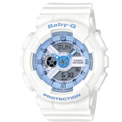 BABY-G馬卡龍粉嫩春天氣息風格休閒錶( BA-110BE-7A)/白43.3mm