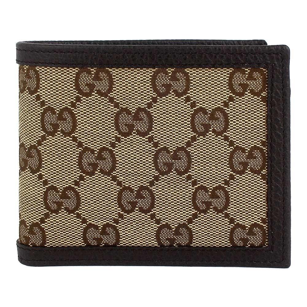 GUCCI 經典帆布咖啡色皮飾邊多夾層短夾(6卡)
