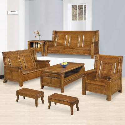 MUNA 7088型樟木色實木組椅(全組)(附坐墊)  193X73X100cm