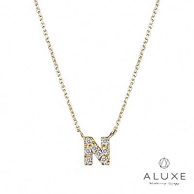 ALUXE亞立詩Alphabet系列10K鑽石項鍊-N